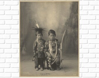 Two Little Braves - Adolph F. Muhr - 1898 - Vintage - Photo - Native American - Photograph - Art - Photography - Print - Home Decor - Indian