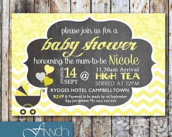 Personalised Printable Baby Shower Invite - Vintage Design
