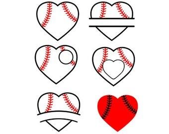 Baseball heart svg  Cutting Template  - baseball digital files SVG EPS Silhouette DIY Cricut Vector Instant Download
