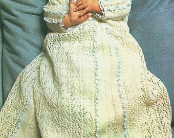 Baby Christening Robe, Knitting Pattern. PDF Instant Download.