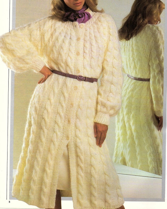 Ladies Long Cable Coat Knitting Pattern. PDF Instant