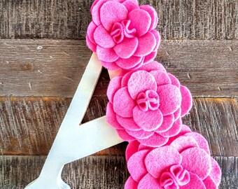 Peony Felt Flower - Monogram - Floral Letter - Nursery Decor - Wedding Decor - Photo Prop