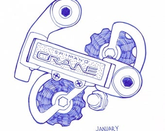 Drawing of Crane Bicycle Derailleur