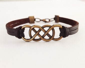 Double Infinity bracelet Antique bronze Infinity Brown leather bracelet Friendship bracelet BFF Gift
