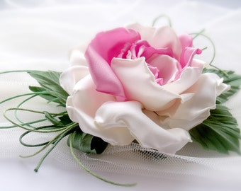 Pink satin rose, Flower brooch,Pink rose,Wedding flower,Handmade flower,Accessory flower,Hair Accessories,Hair Care,fabric flower brooch
