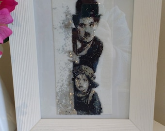 Charlie Chaplin & The Kid Peyote Beaded Tapestry