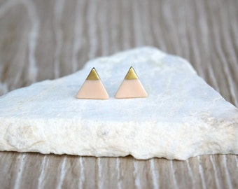 Blush Clay Triangle Studs with 18k Gold, Silver, or Copper, Polymer Clay Earrings, SGCE16