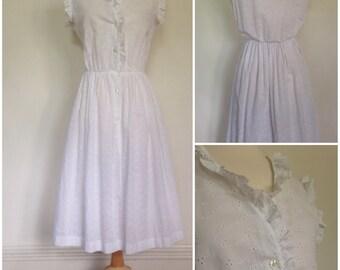 1970s Summer Breeze White Eyelet Dress
