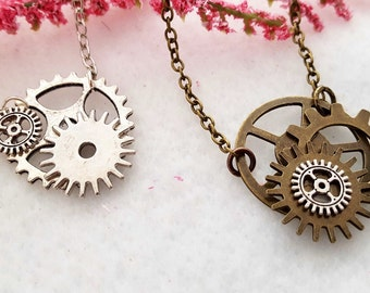 Bicycle Gears Necklace, Steampunk Jewelry, Bike Gear Necklace, Steampunk Necklace, Cyclist Gift, Team Coach Gifts, Cycling Gears Charms