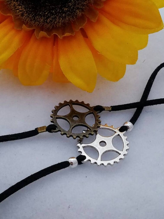 Bike Gear Choker, Black Leather Choker, Gear Jewelry, Steampunk Leather Choker, Gear Charm, Bicycle Charm, Bronze Charm, Steam punk Choker