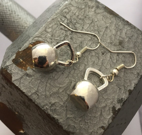 Silver Kettlebell Earrings, Kettle Bell Dangle Earrings, Weightlifter Bodybuilder Jewelry, Fitness Gifts, Athlete Sports CrossFit Jewelry