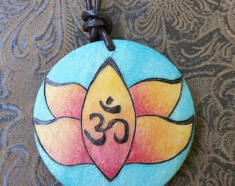 Om pendant, boho jewelry, zen jewelry, yoga jewelry, unique woodburned necklace, unique jewelry