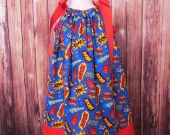 Heroes Pillowcase dress, Super Pow Pillowcase dress, Super Pow dress, Super Heroes dress, Pow Wow dress