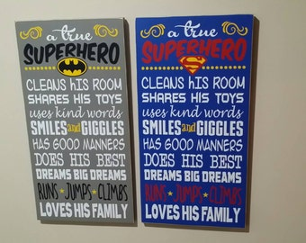 A True Superhero qoute 12x22 wood sign/ boys room decor choose either Batman or Superman can make others as well