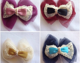 Vinatge Lace and Ribbon Hair Bow with Diamante/Rhinestone