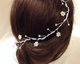 36 cm Rhinetone/Diamante Flower Hair Vine