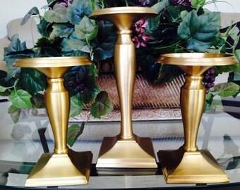 Vintage Gold/Brass-finish White Barn Candlesticks Set Of 3