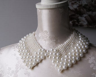 Handmade collar necklace with cream ivory pearls beads peter pan collar detachable beaded collar pointed shape women accessories removeable