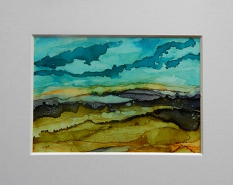 Abstract landscape Alcohol Ink on Yupo paper 5 x 7