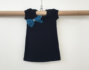 Cute black cotton dress with Big Blue Bow