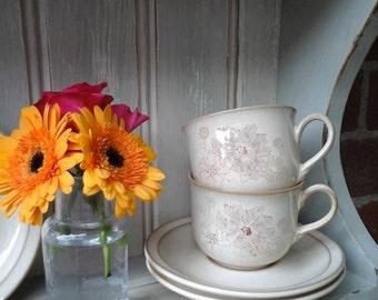 Denby tea cup and saucer,denby sandalwood,vintage denby,denby cup and saucer,vintage denby cup,denby tea cup,sandalwood denby,vintage cup