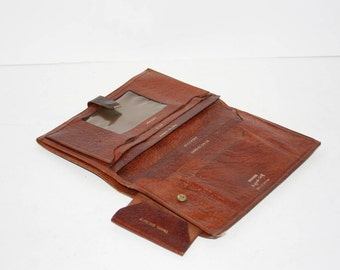 Vintage Rustic Leather Passport/travel attinerary Wallet/ 1970's Buffalo Calf Leather
