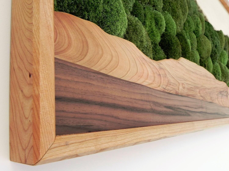 Green Mountain Ridge Moss Wall Art Wood Wall Art Moss and