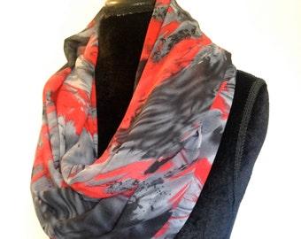 Infinity scarf, chiffon scarf, women's accessories, grey, red, black, scarf, summer fashion, accessories, spring fashion