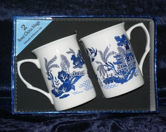 Blue willow bone china mugs - Set of two gift boxed
