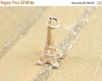 1 Day Sale Eiffel Tower Paris France 3D Charm / Pendant Sterling Silver 1.6g Vintage Estate