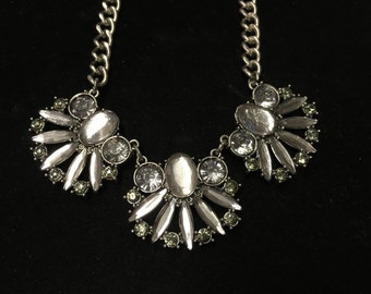 Vintage Necklace, Silvertone With Clear Gems