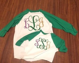 Mardi Gras Raglan Initial Shirt, Mardi Gras Raglan, Initial Raglan, Raglan with Initials, Baseball Shirt with Initials, Mardi Gras Baseball