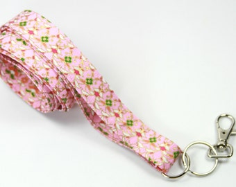 PINK GOLD Fabric Lanyard, Fabric Badge Holder, Pink Fabric Lanyard, Floral Fabric Lanyard
