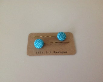 Aqua blue plaid fabric covered button hair pins, plaid button bobby pins