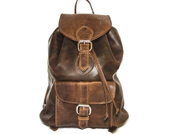 80's Style Textured Brown Rucksack | Hunter Leather Backpack (Medium)