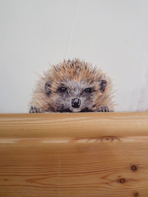 Hedgehog wall art, hedgehog wall sticker - printed from original painting
