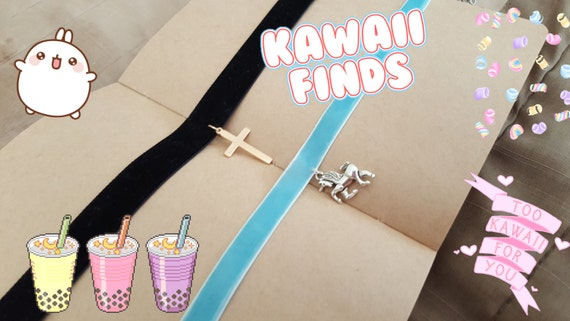 Velvet Choker Goth Pastel Goth Grunge Kawaii Cute Quirky Unique Charms Unicorn Cross Religious Gold Silver