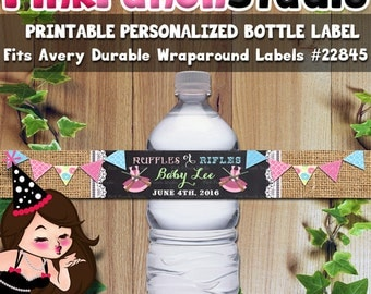 Personalized Printable Ruffles or Rifles Baby Shower Water Bottle Label Avery #22845