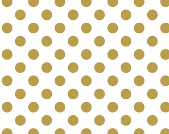 Sparkle Cotton Glitter Fabric - Gold Sparkle Cotton - White and Gold Polka Dot Fabric Printed Fabric - Quilting Cotton - sc 430 52 Gold