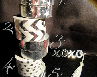 Silver & White Foil Washi Tape - Choice of Designs