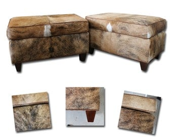 cowhide leather ottoman