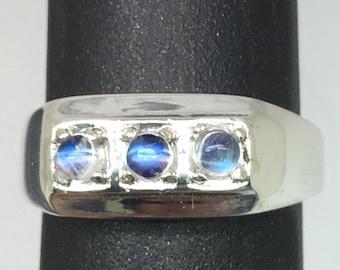 14k Moonstone Men's Ring, FREE SIZING