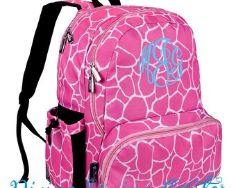 Personalize Backpack. Monogram Giraffe Backpack. Girls backpack. Back to school sale. Pink Giraffe Backpack. Bookbag