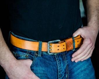 Handmade , natural full-grain   leather belt