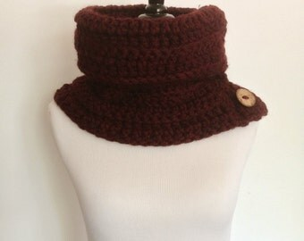 Women's Burgundy Chunky Cowl with Coconut Buttons