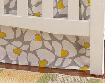 Gray and Yellow Poppy Crib Skirt