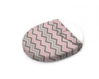 Bella Pink and Gray Mini Chevron Oval Crib Sheet   Stokke Crib Sheet   Leander Crib Sheet