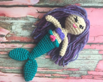 Mermaid Crochet Pattern- ocean, fantasy, purple