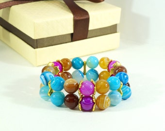 Bracelet from natural stones of agate Optimistic happiness