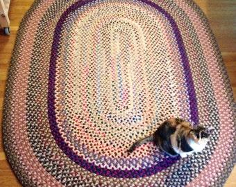 Handmade wool braided rug